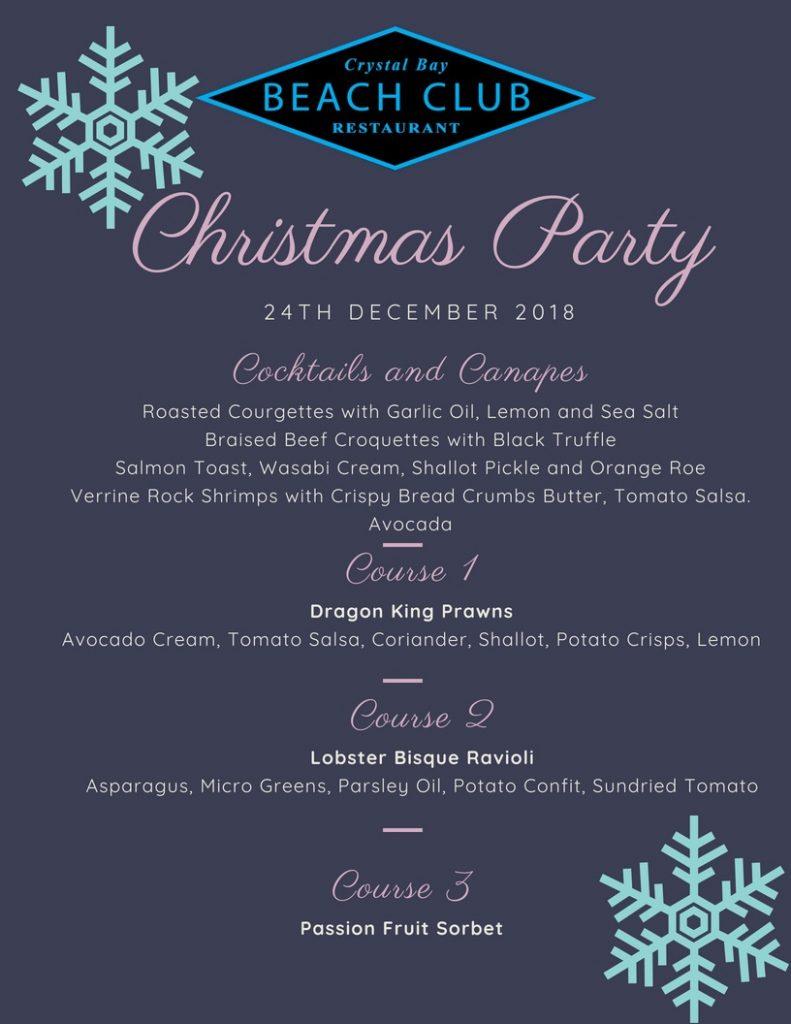 Crystal Bay Beach Club Christmas Menu