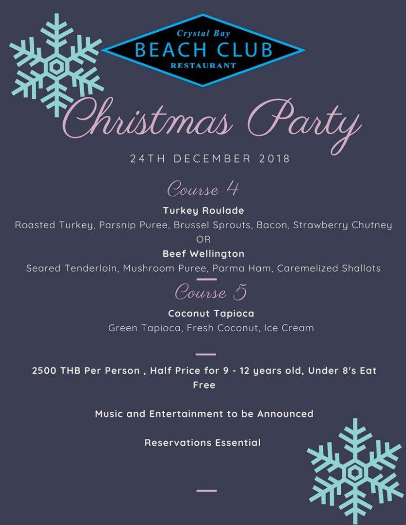 Crystal Bay Beach Club Christmas Menu 2