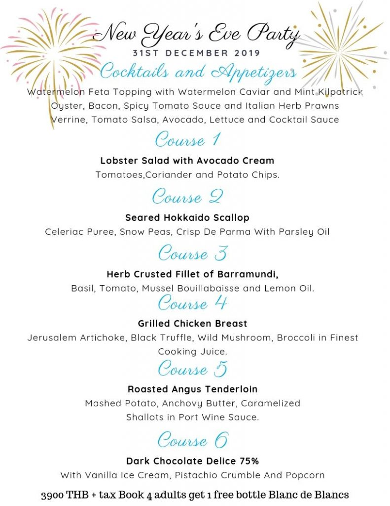 New Year 2019 party Crystal Bay Beach Club Menu